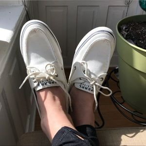 Sperry white boat shoes!